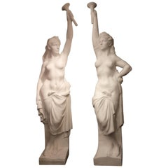 Two Monumental Nymphes  in Plaster, France, circa 1940
