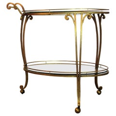 1960s Italian Gilded Iron Bar Serving Cart