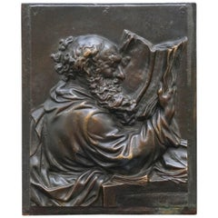 Lovely Rare 19th Century Bronze Wall Plaque of Scholar St Jerome Reading a Book