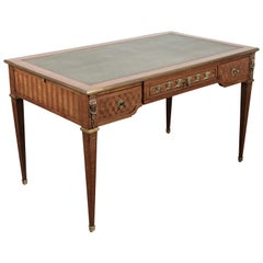 19th Century Louis XVI Style Parquetry Writing Table or Desk with Ormolu Mounts
