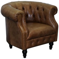 Vintage Tan Brown Leather Chesterfield Buttoned Club Tub Armchair Wood Legs