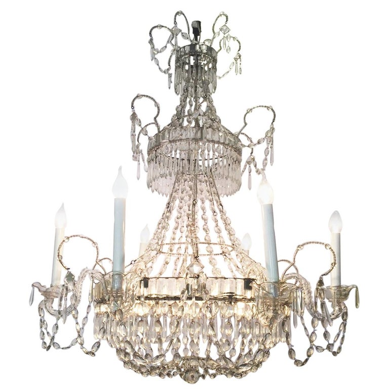 Italian First 19th Century Crystal Chandelier 6 Crystal Branches 12 Lights