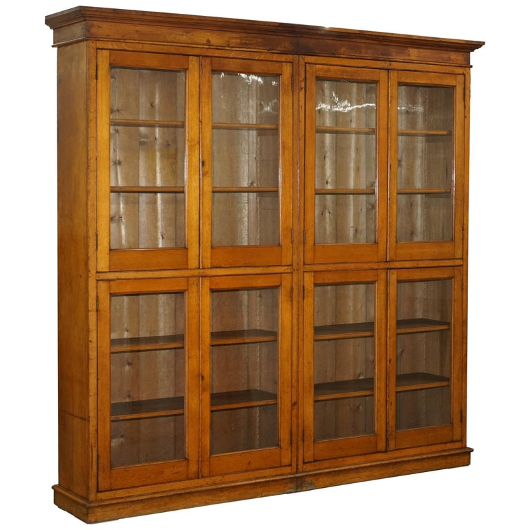 Victorian Mahogany Oak Library Bookcase Cabinet Adjule Shelves Gl Doors For