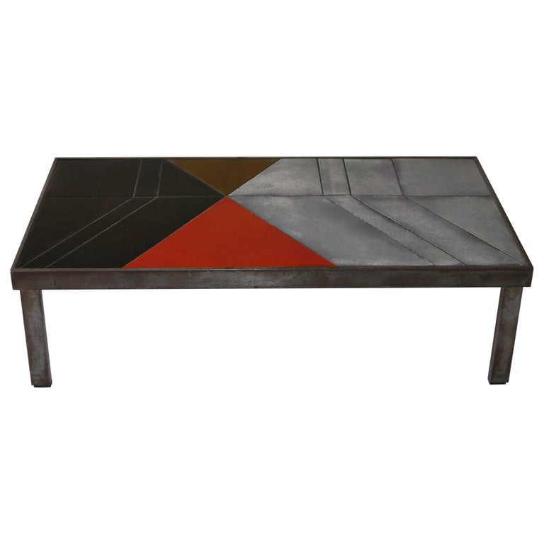 Roger Capron, Exceptional Lava Glazed Low Table, France, circa 1970