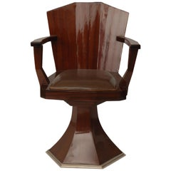 French Art Deco Barber Chair in Mahogany