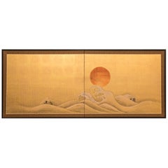 Japanese Two-Panel Screen, Seascape with Rocks and Waves