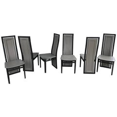 Set of Six Italian Modern Black Lacquer and Grey Leather Dining Chairs