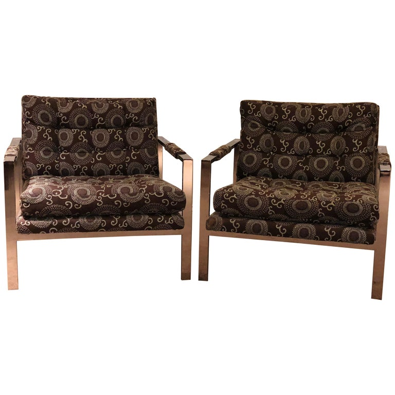 Chrome Cube Lounge Chairs Attributed Milo Baughman For Sale