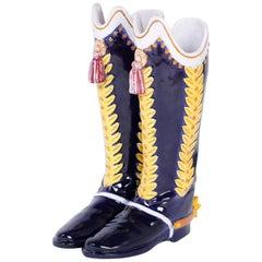 Majolica Boot Umbrella or Cane Stand