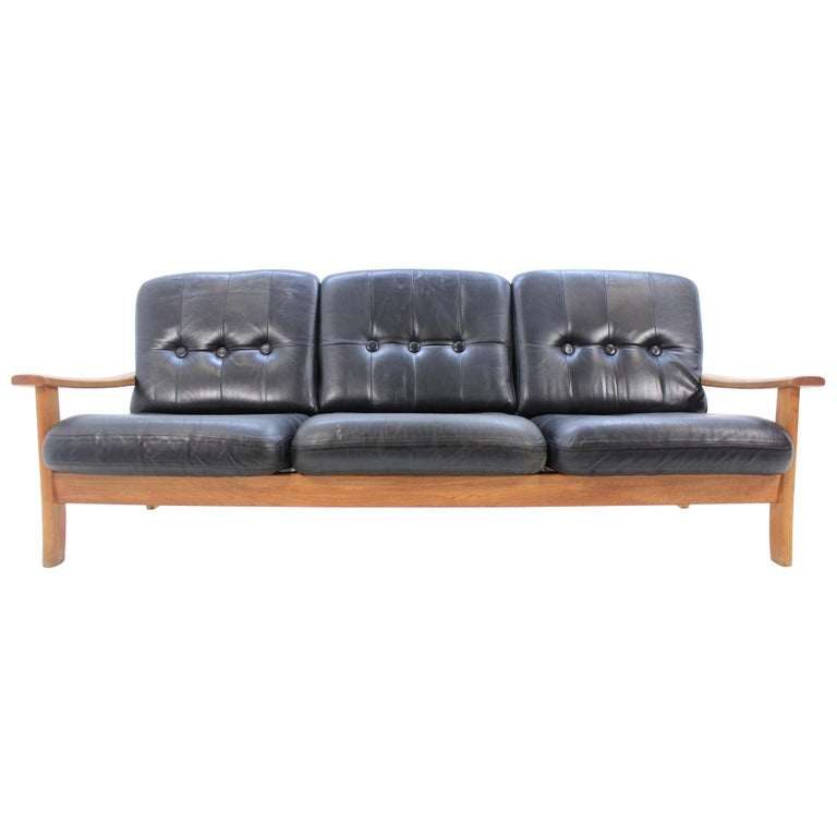Midcentury Scandinavian Leather Sofa 1960s For