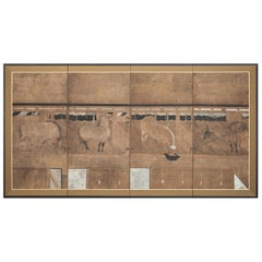 Japanese Four-Panel Screen, Horses in Stable