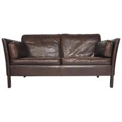 Danish Mid-Century Modern Brown Leather Loveseat