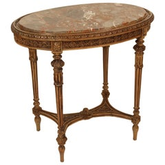 Louis XVI Style Marble-Top Occasional Table