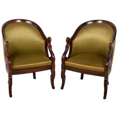 Pair of Mahogany Empire-Style Armchairs