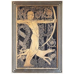 """Nude Archer with Hound,"" Striking Art Deco Bronze Panel with Incised Figure"