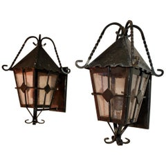 Elegant Pair of Wrought Iron Outdoor Sconces