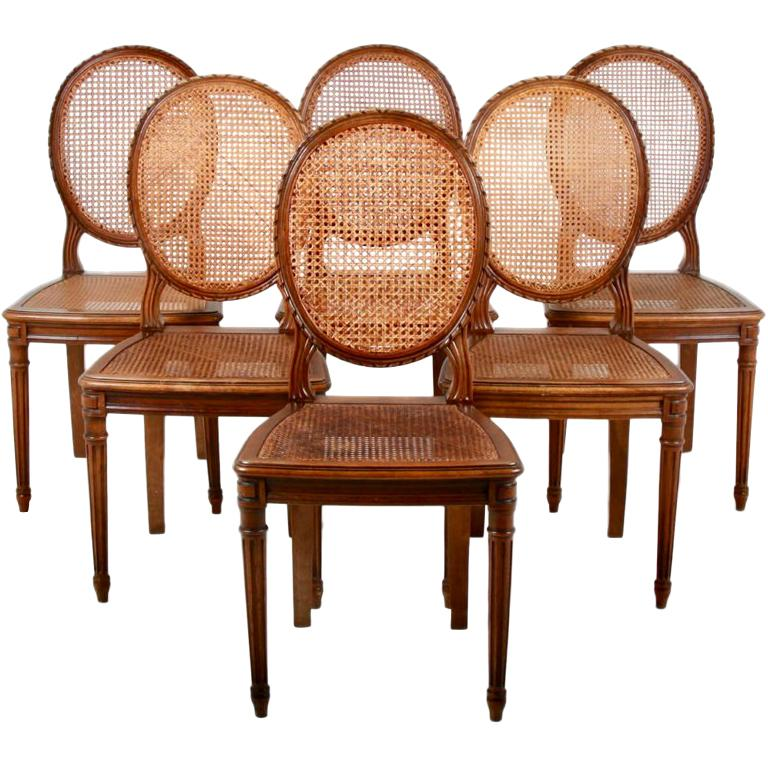 Set of Six Louis XVI-Style Cane Dining Chairs For Sale