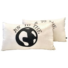 "21st Century and New Pair of  ""Joy To The World"" Metallic Coated Pillows"