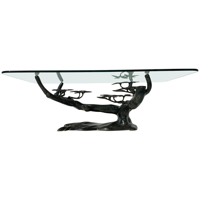 Willy Daro Bonsai Tree Brass Coffee Table For Sale