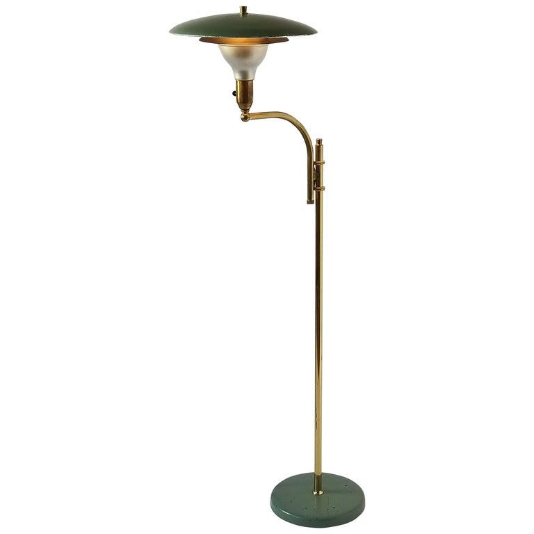 1950s  M.G.Wheeler  Brass and Enameled Aluminium Telescopic  Floor Lamp , USA