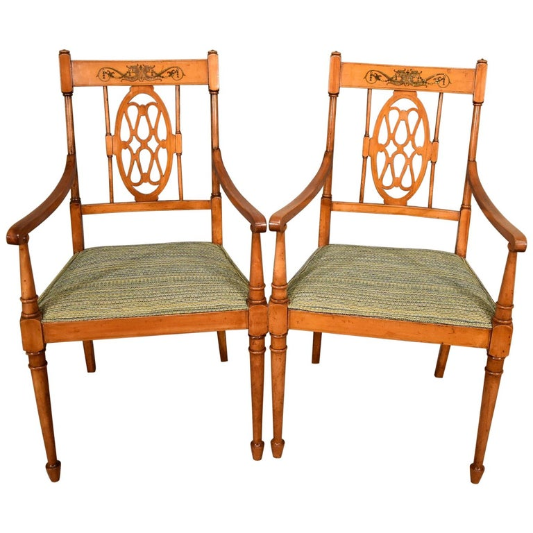 Attractive Pair of Satin Birch Painted Armchairs
