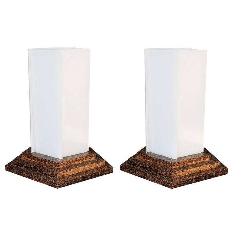 Pair of 1940s Palmwood Lamps