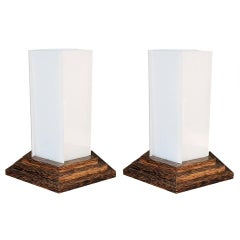 Pair of 1940 Palmwood Lamps