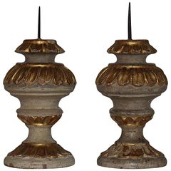 Couple of Small 18th Century Italian Carved Baroque Candleholders / Candlesticks