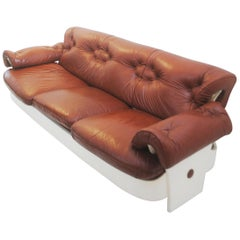 Sofa in Leather and Lacquered Wood, Italy, circa 1980s