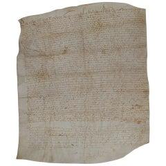 Large 17th Century French Vellum Handwriting