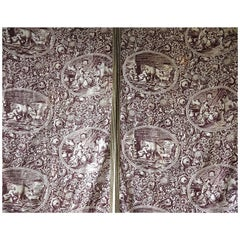 Pair of Purple Toile Panels French, 19th century
