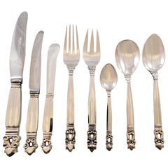 Acorn by Georg Jensen Danish Sterling Silver Flatware Set for 8 Service 64 Pcs
