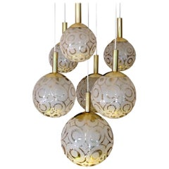 Large Midcentury Limburg Brass Bubble Glass Globes Chandelier Pendant