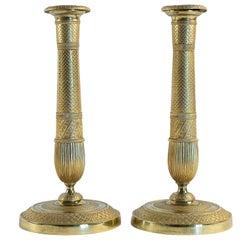 Empire Period Pair of French Ormolu Candlesticks, circa 1805