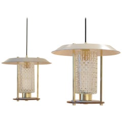 Orientalist Lantern Type Glass and Teak Wood  Pendants, 1960s