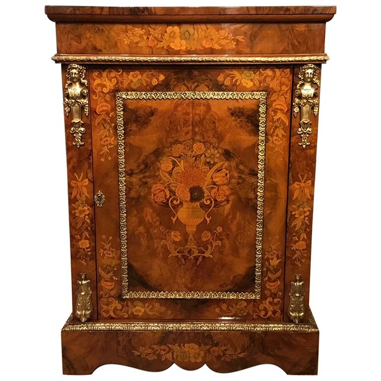Superb Quality Victorian Period Burr Walnut and Marquetry Pier Cabinet