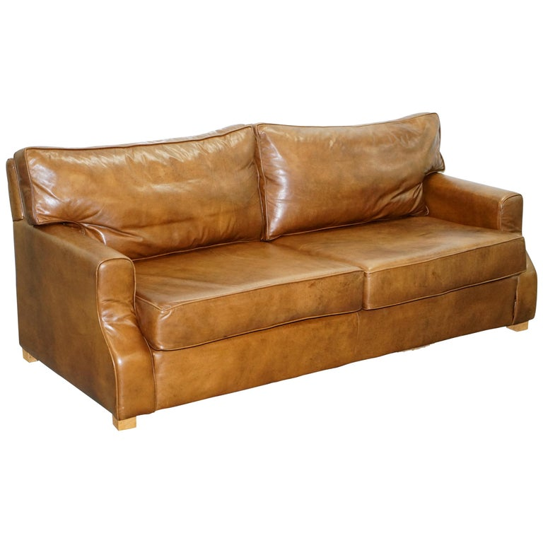 Aged Vintage Heritage Brown Leather Three Seat Sofa Duck Feather Cushions For