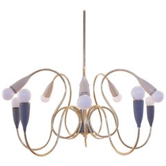 Italian Curvy Brass and Bicolored Bakelite Chandelier, 1950s