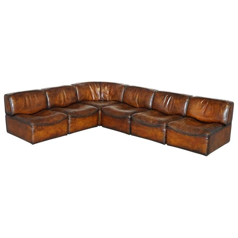Rare De Sede DS15 Corner Modular Sofa Armchairs Original Paperwork Brown Leather