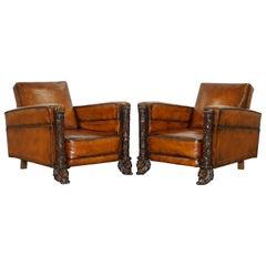 Pair of Victorian Brown Leather Club Armchairs 17th Century Cherub Putti Angels