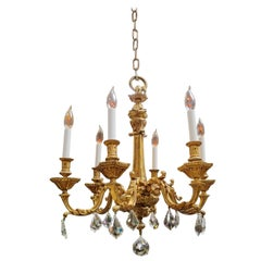 French Gilt Bronze Chandelier, Early 19th Century