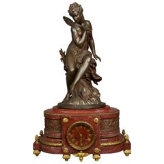 19th Century, Moreau et Charpentier Patinated Bronze Griotte Marble Mantel Clock