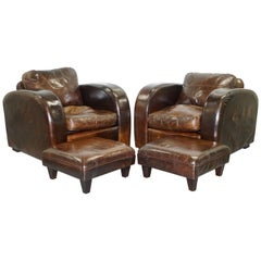 Pair of Freestyle London Aged Brown Heritage Leather Club Armchairs & Footstools