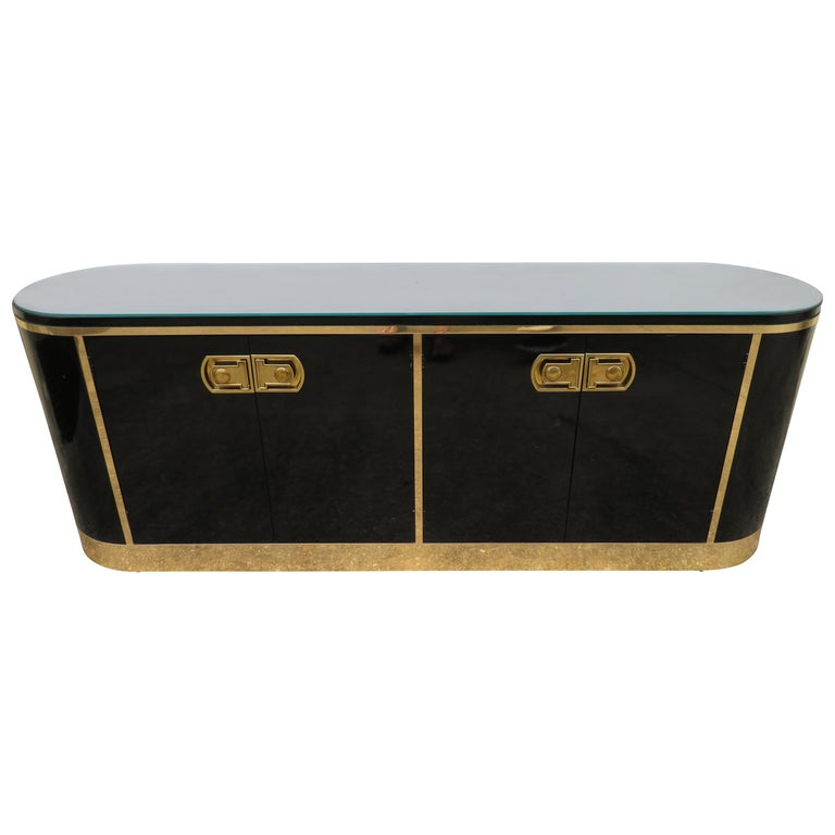 Stunning Mastercraft Black Lacquer and Polished Brass Credenza Midcentury