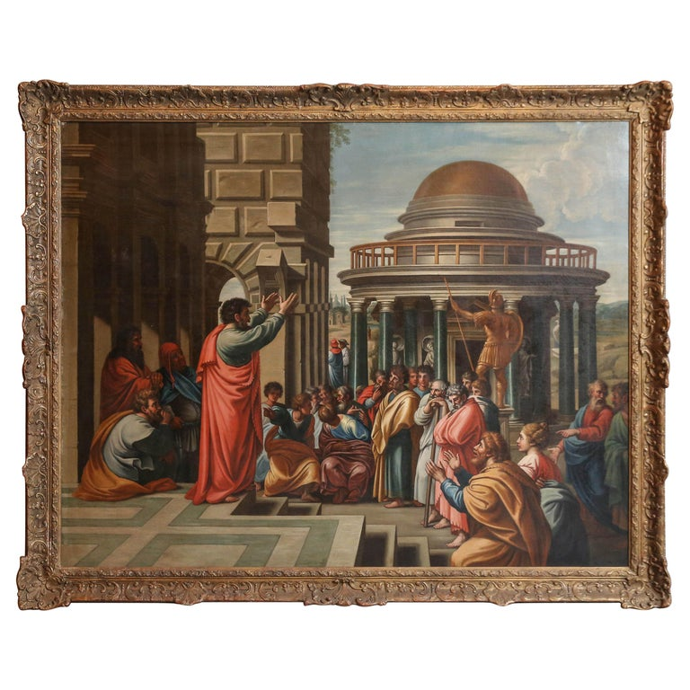 """Paul Preaching in Areopagus"" Oil Painting in the Manner of James Thornhill For Sale"