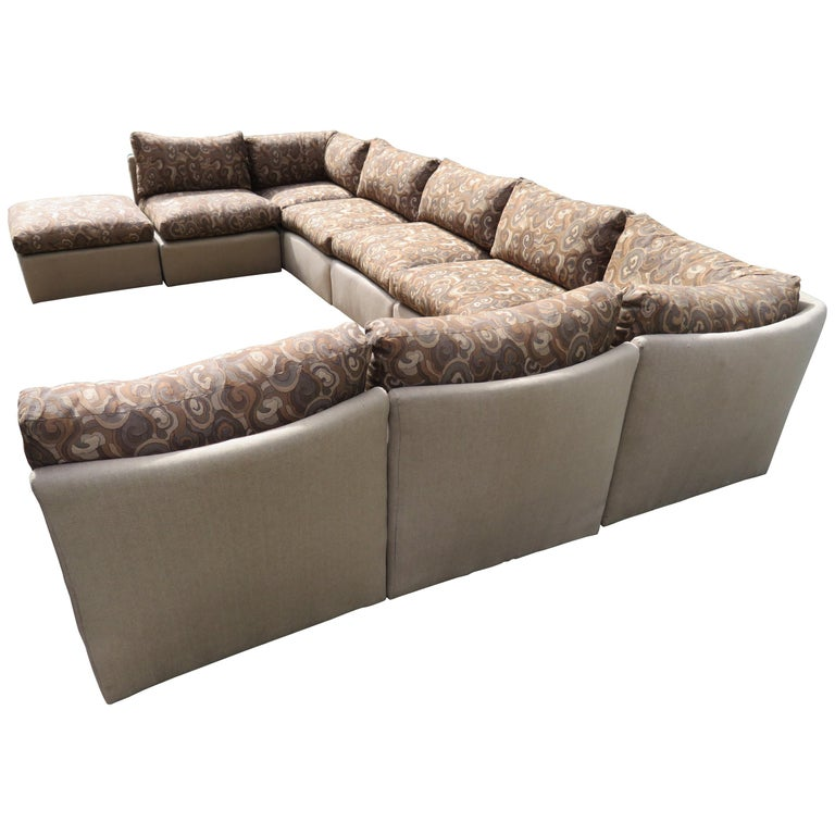 Wonderful Milo Baughman 9 Piece Curved Back Sectional Sofa Mid Century Modern For