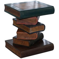 Solid Hand-Carved Wood Scholars Library Stack of Books Side End Lamp Wind Table