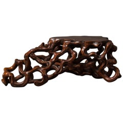 Japanese Hand-Carved Natural Wood Root Stand