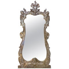 Monumental Carved Wood Beveled Mantle Mirror with Silver and Gold Gilt