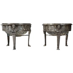 19th Century, Empire Silver and Crystal Pair of Salt Cellars